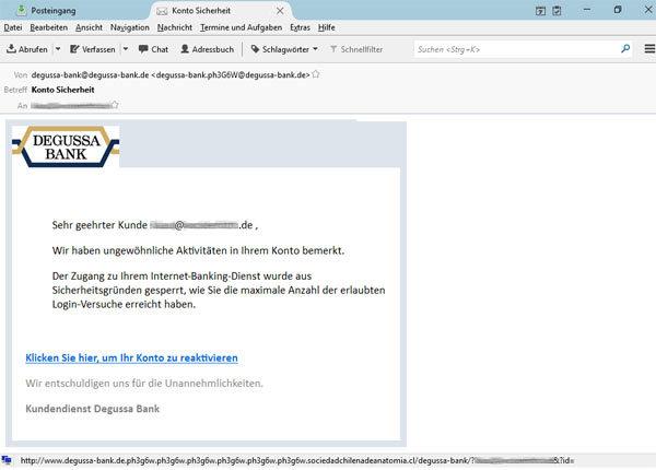 Beispiel Degussa Phishing Mail Detektei DeFacto Screenshot